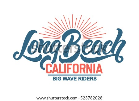Vintage 80s 70s hand made hawaii stock vector 325544339 for Long beach ny shirts