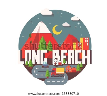Long beach city logo in colorful vector - stock vector