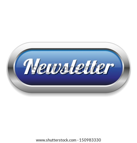 Long blue newsletter button - stock vector