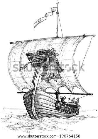 Long boat drakkar sketch - stock vector