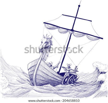 Long boat drakkar vector drawing - stock vector