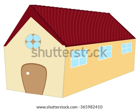 long 3d house against white background, abstract vector art illustration - stock vector