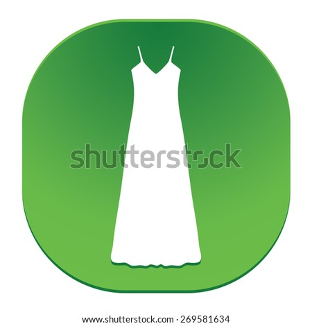 long Dress, Evening dress, combination or nightie , the silhouette. Menu item in the web design. - stock vector