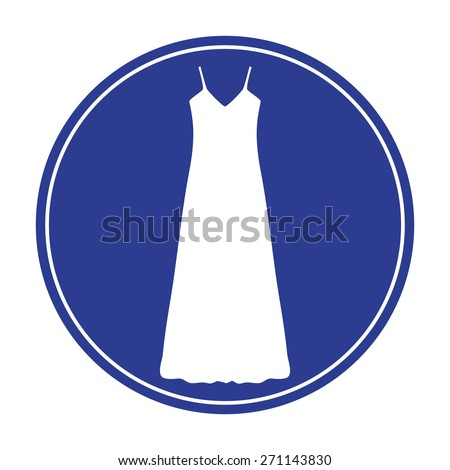 long Dress, Evening dress, combination or nightie , the silhouette. Menu item in the web design - stock vector