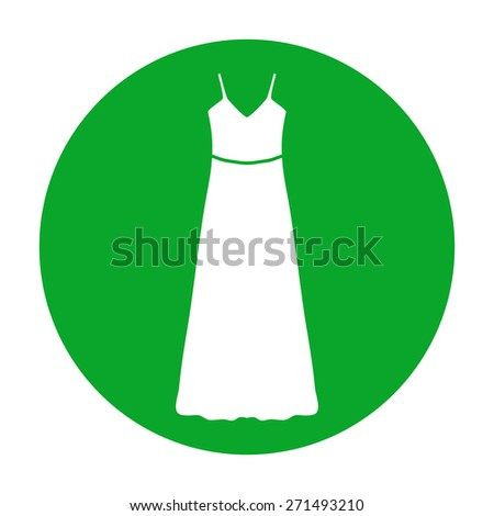 long Dress, Evening dress or sundress with belt , the silhouette. Menu item in the web design - stock vector