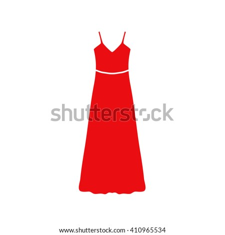long Dress, Evening dress or sundress with belt , the silhouette. Menu item in the web design. - stock vector