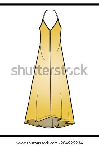 Long dress,in vector. - stock vector