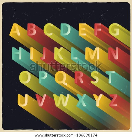 Long extruded vector alphabet with retro colors - stock vector