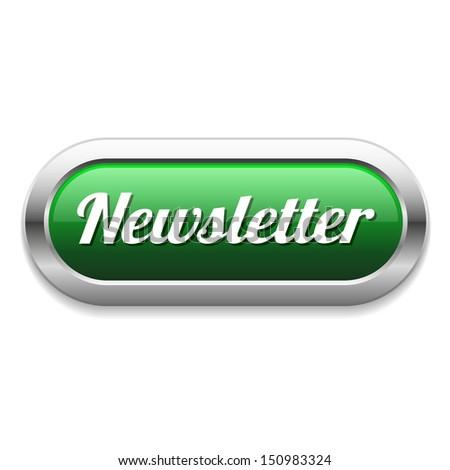 Long green newsletter button - stock vector