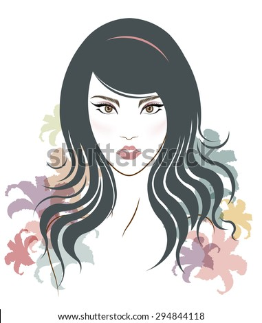 Long hair style icon, logo women face on white background, vector - stock vector