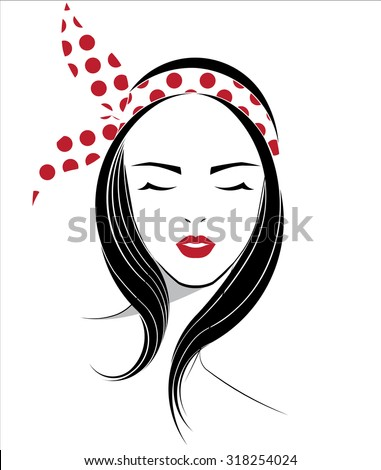 Hairstyles Logo : Long hair style icon, logo women face with ribbon on white background ...
