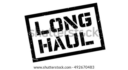 Long Haul rubber stamp on white. Print, impress, overprint.