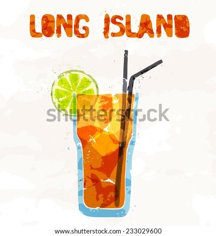 Long island ice tea cocktail - stock vector