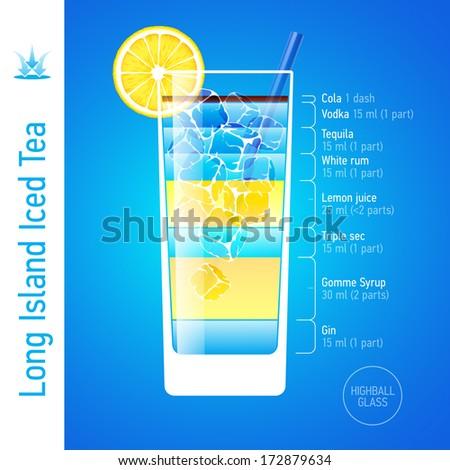 Long Island Iced Tea cocktail ingredients. Vector. - stock vector