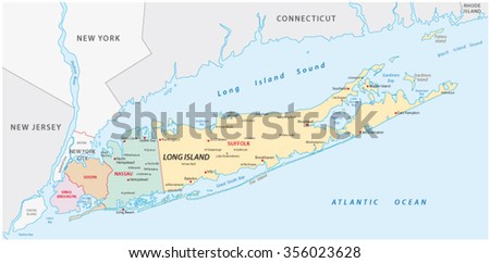 long island map - stock vector