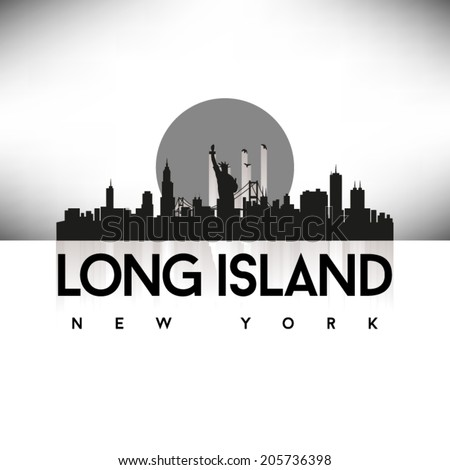 Long Island New York United States of America States/Cities Skyline Silhouette Black Design, vector illustration. - stock vector