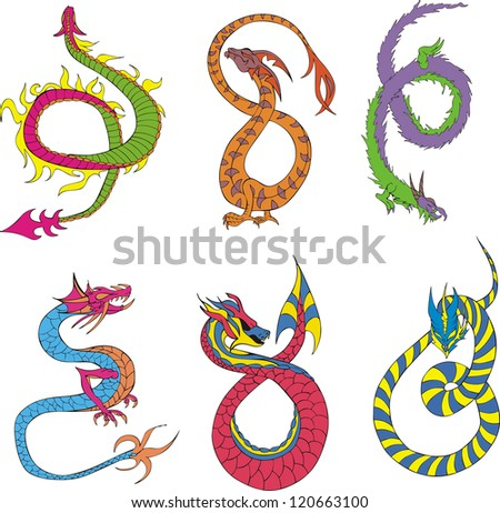 Long japanese dragon worms. Set of color vector illustrations. - stock vector