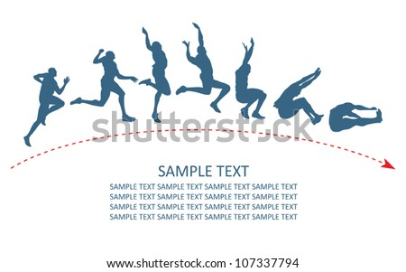 Long jump trajectory - vector illustration - stock vector