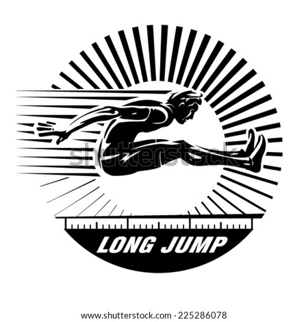 Long jump. Vector illustration in the engraving style - stock vector