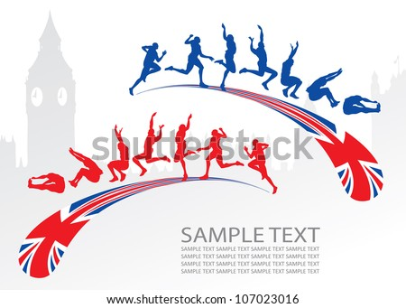 Long jump with Great Britain flag - vector illustration
