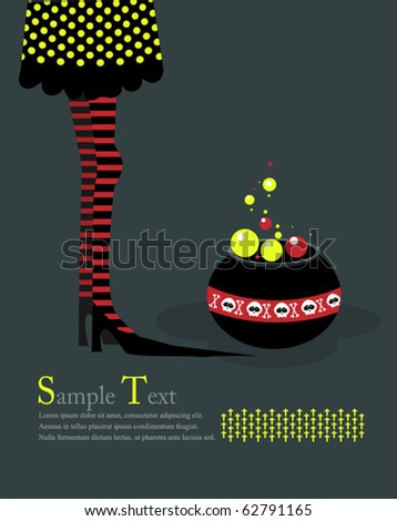 Long legs in a boiler with a witches potion. Illustration - stock vector