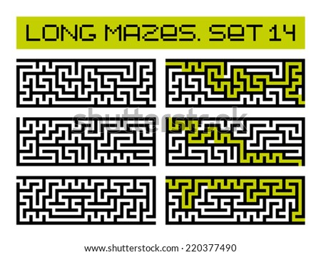 long mazes set 14 - stock vector