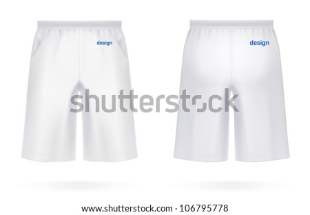 Long men's SHORTS, white color. VECTOR illustration, created with love to details. More apparel design in my portfolio! - stock vector