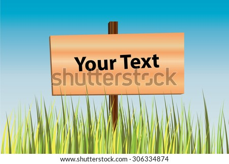 Long overgrown green weed grass vector and empty wooden signboard/signage with blue sky background suitable as bottom border or background (eps10) - stock vector