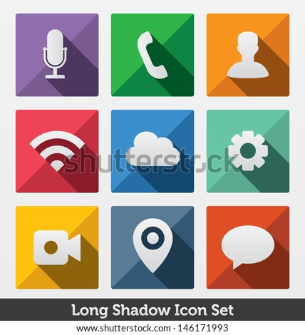 Long shadow icon set trendy design stock vector 146171993 for Modern cleaning concept