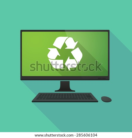 Long shadow personal computer with a recycle sign - stock vector