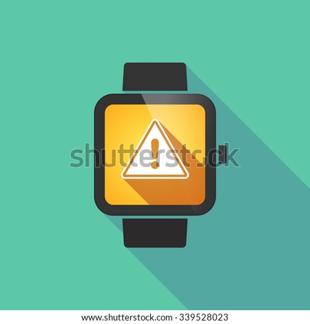 Long shadow smart watch vector icon with a warning signal