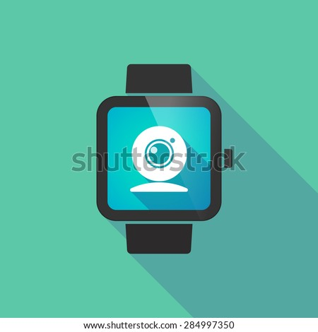 Long shadow smart watch with a web cam - stock vector