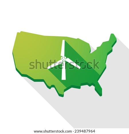 Long shadow USA map icon with a wind generator - stock vector