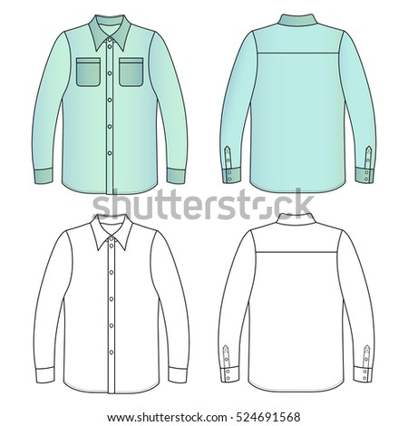 Long sleeve man's buttoned shirt outlined template (front & back view), vector illustration isolated on white background