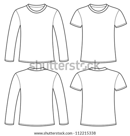Long-sleeved T-shirt and T-shirt template - stock vector