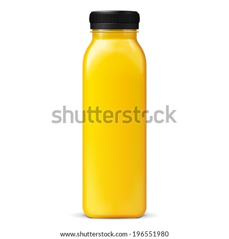 Long Tall Juice Or Jam Glass Yellow Orange Bottle Jar On White Background Isolated. Ready For Your Design. Product Packing. Vector EPS10 - stock vector