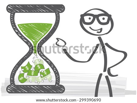 long term investments - vector illustration - Man in glasses beside hourglass filled with money - time is money - stock vector
