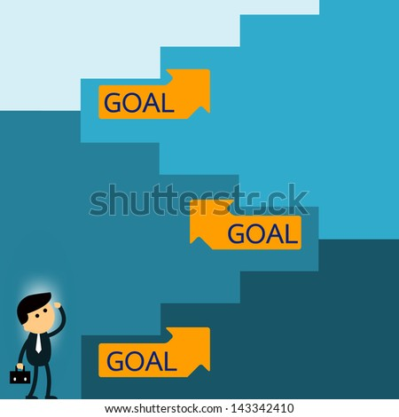 Long way to goal. Businessman looking further into long way to go to reach to the goal. Vector illustration. Text can be easy to be changed and you can write your own word instead. - stock vector