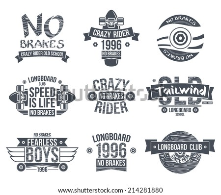 Longboard club emblems. Graphic design for t-shirt. Dark print on white background - stock vector