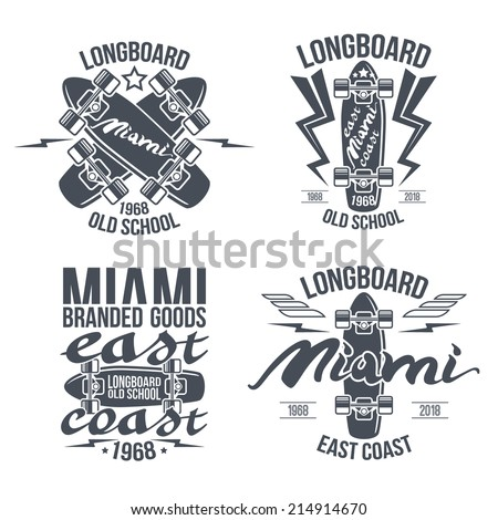 Longboard retro emblems. Graphic design for t-shirt. Dark print on white background - stock vector