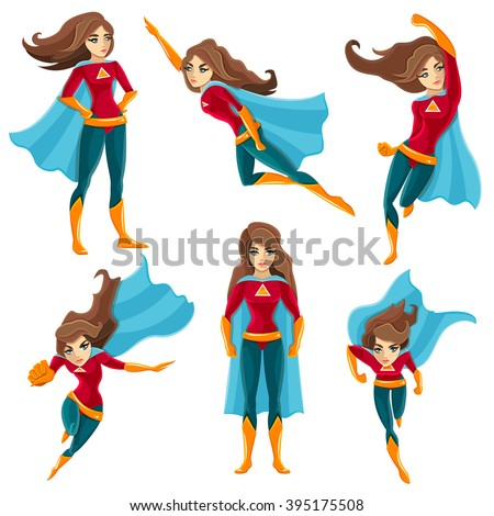 Longhaired superwoman actions set in cartoon colored style with different poses vector illustration - stock vector