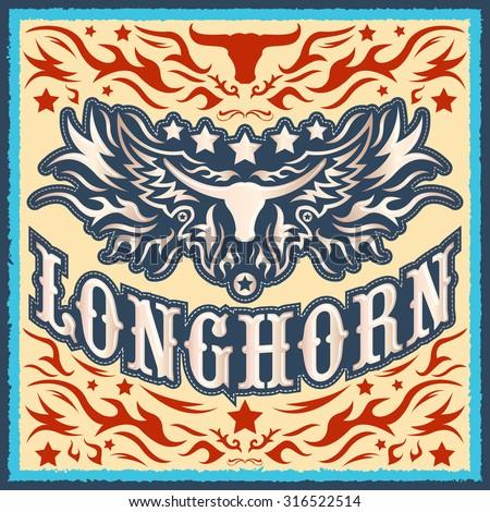 Longhorn vintage western vector design - Rodeo cowboy poster - stock vector