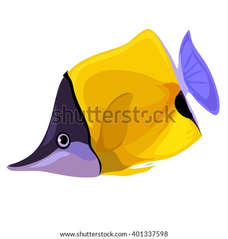 Longnose butterflyfish (Forcipiger flavissimus). Fish isolated on a white background. Vector illustration.