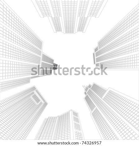 Look up in sky  from city of skyscrapers, there is perspective effects. - stock vector