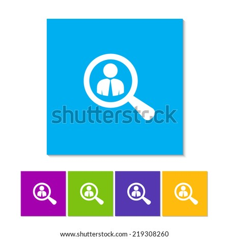 Looking For An Employee. Looking For Talent. Search for businessman. Flat icon design. Orange, purple, magenta, violet, yellow, green and blue color buttons - stock vector