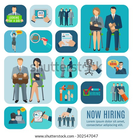looking for job and application online via recruitment agencies sites flat icons collection abstract isolated vector - Collection Agent Jobs