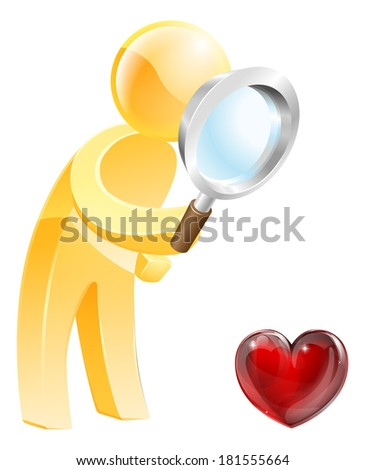Looking for love concept of a person looking at a heart shaped symbol with a magnifying glass - stock vector