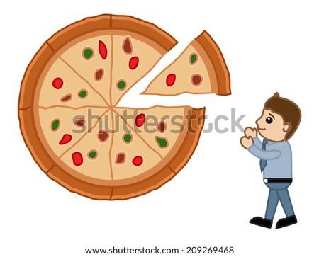 Looking for Pizza - Cartoon Vector - stock vector