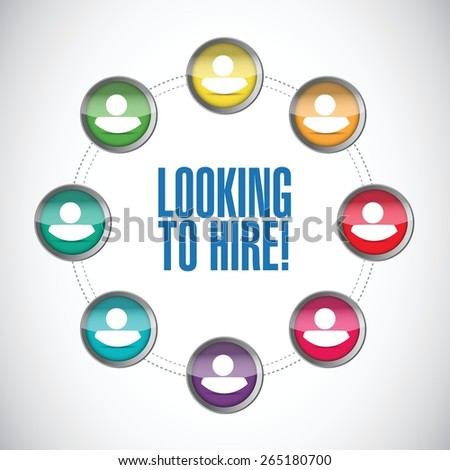 looking to hire people network concept illustration design over white - stock vector