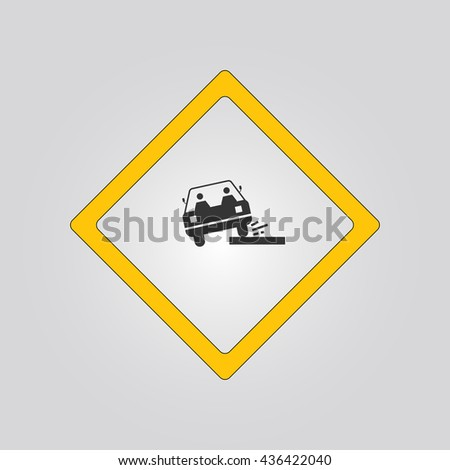 loose chippings sign. warning. icon - stock vector